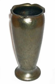 "Roycroft vase, footed form with crimped rim in hammered copper, original patina, impressed mark, 6.25""h"