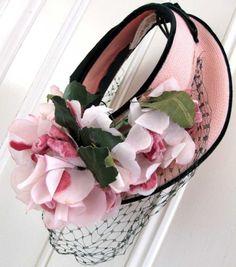 Vintage Summer Pink Velvet Roses Hat