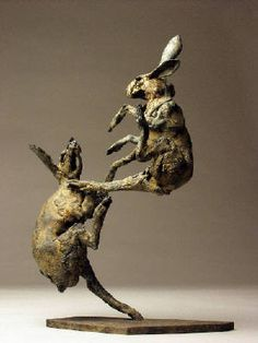 "Artist: Emma Rodgers, Title: ""Fighting Hares"" -"