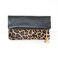 Leopard Leather Clutch Calf Hair Fold Over Clutch by gmaloudesigns