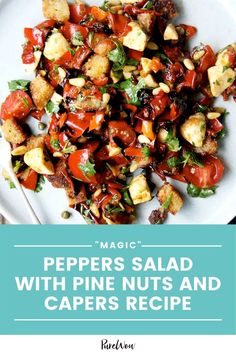 """This """"magic"""" pepper salad with pine nuts and capers requires little effort to turn out a satisfying summer meal. #peppers #salad #recipe Healthy Salad Recipes, Veggie Recipes, Dinner Recipes, Keto Recipes, Summer Salads, Summer Food, Meat Fruit, Warm Salad, Fresh Mozzarella"""