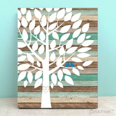 Rustic Teal Wood Wedding Tree Guest Book Alternative - Wedding Wish Tree - By Peachwik