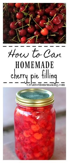 Easy recipe for making and canning homemade cherry pie filling from fresh pie cherries.