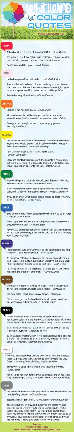 New Infographic!  Whirlwind of Color Quotes from The Land of Color. #color #quotes #paint