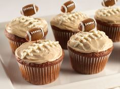 Yummy goodness for a game day treat!  Use RM Palmer Chocolate Footballs for a quick and easy garnish! www.candycentral.com