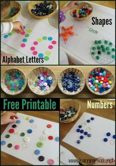 "Cute fine motor skill ""match the dot"" activity that also introduces letters, numbers, or shapes. Free printable templates included"