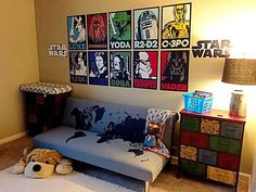 Star Wars themed kid's room featuring Fathead peel & stick wall decals!