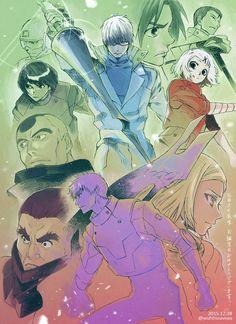 Arima, Takizawa, Ui, Shinohara, Amon, Suzuya, and Akira ||| Tokyo Ghoul Fan Art by 東山マキ on Twitter