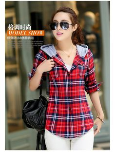 New Arrival 2015 Autumn Cotton Long Sleeve Red Checked Plaid Shirt Women Hoodie Casual Fit Blouse Plus Size Sweatshirt-in Hoodies & Sweatshirts from Women's Clothing & Accessories on Aliexpress.com | Alibaba Group