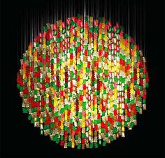 Chandelier made from 5,000 acrylic gummi bears