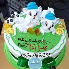 Bánh kem nghệ thuật trang trí thú nổi 3D cặp sinh đôi chuột trắng