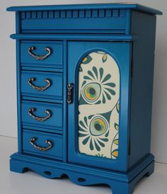 Vintage Jewelry Box, Music Box, Teal Satin Finish, Refurbished, Upcycled with Modern Updates, OOAK
