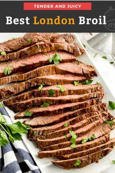This London Broil recipe is easy to make and always turns out perfect. Juicy, tender, rich and flavorful, London Broil is the best budget friendly steak dinner! #steak #dinner #flanksteak #tender Best London Broil Recipe, London Broil Recipes, Cooking London Broil, London Broil Steak, Marinated Flank Steak, Cooker Recipes, Beef Recipes, Grilled Recipes, Kitchens