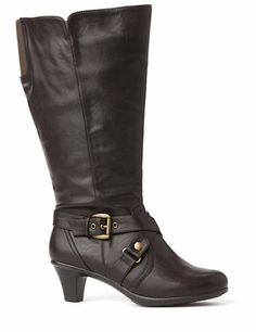 Sleek boots transition flawlessly from season to season. Mid-calf style is comfortable and current. A buckled strap accents the ankle. Stretch fabric completes the calf for a custom fit. Finished with a zip opening on the side and a sturdy kitten heel. For your comfort, Catherines boots come in wide width sizes with stretchable calves to better fit the plus size woman. catherines.com