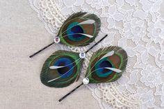 Peacock Hair Piece, Peacock Hair Pin, Hair Feather in BRILLIANT, Hair Accessories - Ready to ship - unique gift idea - boho. $9.99, via Etsy.