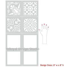DIY Decor Idea with Painted Faux Tile Floor Patterns - Spanish Tile Stencils - Royal Design Studio