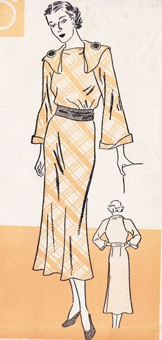 1930s One Piece Dress Vintage Sewing Pattern