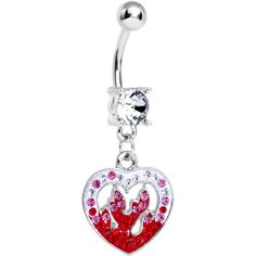 Clear Gem Red Hollow Fire Heart Dangle Belly Ring #BodyCandy