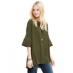 Banana Republic Womens Drapey Dolman Sleeve Blouse Size XS - Seaweed ($80) ❤ liked on Polyvore