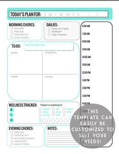 Teal Blue Daily Planner Printable Customizable by FanCThatCreative