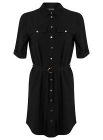 A black utility shirt dress with gold buttons and a waist belt. Tap into the military trend in an office-appropriate way.
