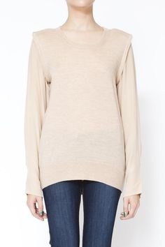 3.1 Phillip Lim, 3D Binding Shell with silk sleeves. #tops, #neutralities