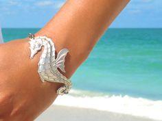 Seahorse Bracelet Beach Bracelet Seahorse Jewelry Nautical Bracelet Statement Jewelry Statement Wedding Boho Bohemian Bracelet. $39.00, via Etsy.