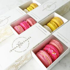 """Jenna Rae + Ashley Nicole on Instagram: """"#macaron flavours today at the shop are: birthday cake batter salted caramel bananas' foster lemon curd strawberry banana smoothie rose  #winnipegbakery open 12-6 #jennaraecakes #jrcmacarons gift packaging by @georgettepackaging"""""""