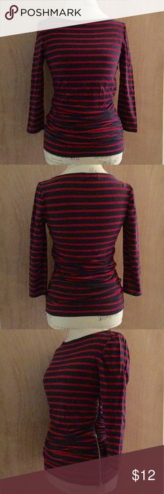 """Michael Kors top Michael Kors striped knit top with ruching and three quarter length sleeves.  Accented with a silver zipper on one side.  Colors are navy and red.  Armpit to armpit measures 16"""" unstretched.  Size M but can also fit a size S. Michael Kors Tops"""