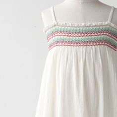 Smocking. BONPOINT 2013SS Kids embroidery camisole one piece (102 UPB BLANC White) 3A-6A Rakuten