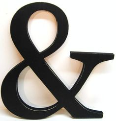 Wood AMPERSAND Sign 15 inches  Painted Black  by DimeStoreVintage, $29.99