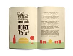 Love this girl's design style: Baked Goods and Booze by Lauren Hom, via Behance Typography Tumblr, Bold Typography, Brochure Design Inspiration, Graphic Design Layouts, Layout Design, Site Design, Book Design, Lauren Hom, Creative Brochure