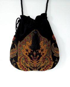 Tapestry Boho Bag  Drawstring Bag  Black Velvet Bag  Bohemian Bag  Crossbody Purse