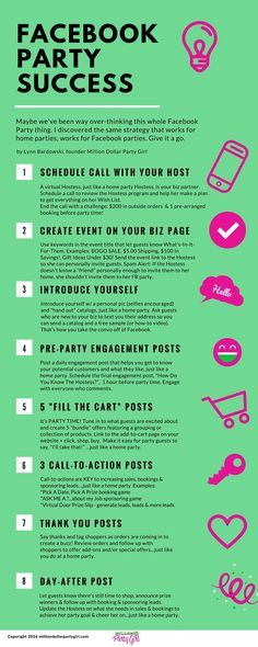 Save this Facebook Party infographic for a simple-to-follow 8 step formula to holding successful Facebook Parties. You'll want to share this one with your team!