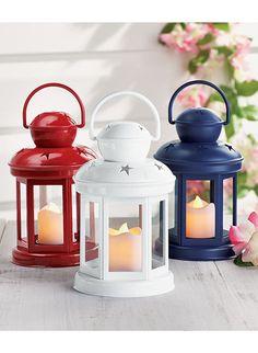 Set of 3 LED Lanterns - Red White & Blue Lanterns - LED Outdoor Tabletop Lights #Unbranded