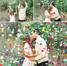 This is one of the many happy times you will experience as a couple, let it show through your photos! This photo montage below is pretty much saying, 'Hooray! We're getting married!' | Photo: Priscilla Valentina | See more confetti wedding details here: http://www.mywedding.com/articles/confetti-wedding-details/