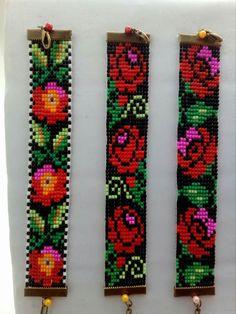 Starting from the left: 11 wide, 15 wide & 15 wide Bead Loom Bracelets, Beaded Bracelet Patterns, Bead Loom Patterns, Peyote Patterns, Beading Patterns, Beaded Cross Stitch, Bijoux Diy, Bead Jewellery, Loom Beading