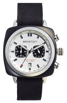 Free shipping and returns on Briston Chronograph Watch, 42mm x 42mm at Nordstrom.com. Dual sub-eyes detail the sandblasted dial on a fetching square-case chronograph watch designed with a tachymeter bezel and a black canvas strap. Japanese Citizen Miyota movement powers the design for precise, reliable timekeeping.