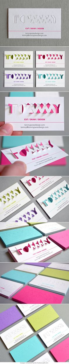business card corporate branding die cut letterpress folding design