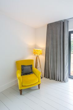 This modern, industrial bedroom has come alive with these yellow & grey blinds & curtains for bi fold doors in Woking, Surrey. - My Website 2020 Curtains For Bifold Doors, French Door Curtains, Curtains With Blinds, Window Blinds, Sheer Blinds, Grey Curtains Bedroom, Yellow Curtains, Bedroom Yellow, Gray Bedroom