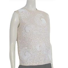 Vintage 1950s 1960s Beaded Wool Shell Top Flapper Sequin