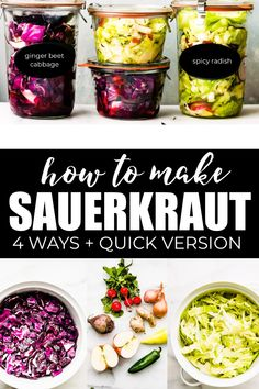 How to Make Sauerkraut Flavors!) Learn how to make sauerkraut easily at home, in four different flavors! Including a basic homemade sauerkraut recipe, plus a quick stove top sauerkraut. Making Sauerkraut, Homemade Sauerkraut, Sauerkraut Recipes, Paleo Menu, Paleo Recipes, Cooking Recipes, Paleo Vegan, Vegetarian, Vegan Food