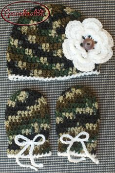 Crocheted Camo Baby Hat with Flower and Thumbless by Grandmabilt, $25.00
