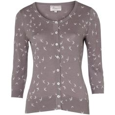 Swallow Print Cardigan by Poem ($43) ❤ liked on Polyvore