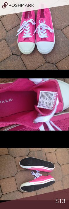 Hot pink and white lace canvas sneakers  8 1/2 Hot pink lace canvas upper balance sneakers with white front and white with pink stripe sides and white laces.  Air walk size 8 1/2 . Worn once . Airwalk Shoes Sneakers