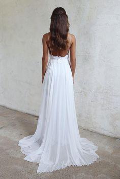 1ff68c2bb0d Spaghetti Strap V-Neck Lace Appliqués Chiffon A-line Wedding Dress  Featuring Open Back