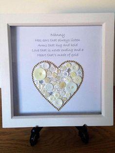 Nanny Heart That's made of Gold Button Art Heart Design