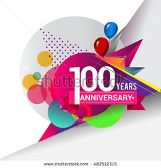 100 Years Anniversary logo with balloon and colorful geometric background, vector design template elements for your birthday celebration.