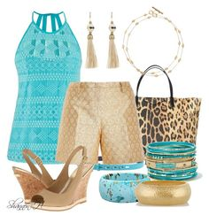 Summer Turquoise & Gold by shannonholcombe70 on Polyvore featuring polyvore fashion style maurices N°21 Lilly Pulitzer Kenneth Jay Lane Lanvin Tory Burch byblos