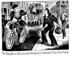 """""""She bought a Bicycle and Bloomers Instead of the Furniture"""" Illustrated Police News 21 November 1896 Anti Suffrage, Police News, Bike Illustration, Victorian Illustration, Female Cyclist, Bicycle Women, Neo Victorian, Bike Art, Best Vibrators"""